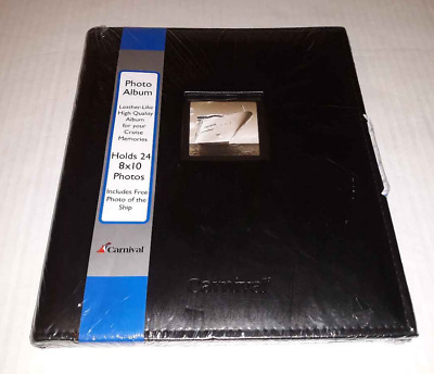 Carnival Cruise Line Black Photo Album Book 24 - 8 x 10 Photos Faux Leather New
