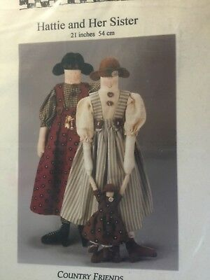 Country Friends dolls pattern called 'Hattie & Her Sister'