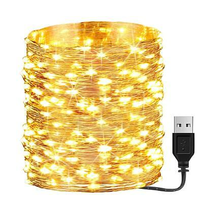 66ft 200 Led USB Powered Fairy Lights,Waterproof Christmas Decor  Warm White