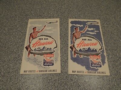 Vintage 40's/50's Hawaiian Airlines Map routes Brochure lot of 2 #2