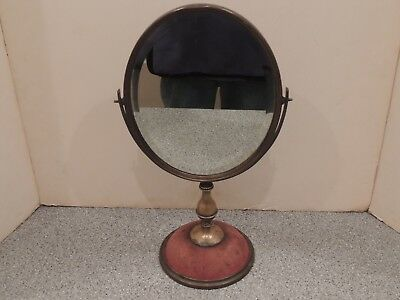 Antique Brass Make Up / Shaving Mirror Heavy and Beveled