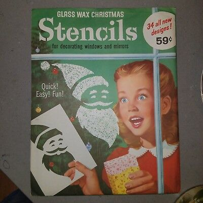 Vintage 1950-60s  Glass Wax Christmas Stencils  UNOPENED NOS MINT New Old Stock