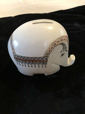 Höchst Decor Exotic Gleaming White Porcelain Elephant Bank w Key