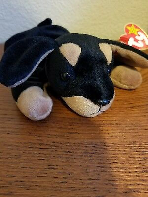 Brand new Ty Beanie Babies Baby Doby the Doberman error Rare
