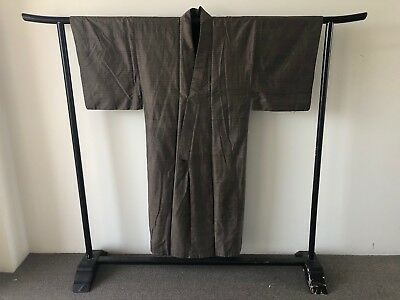 Men's Brown Woven Silk Kimono Japanese Costume Hand Made Vintage Jacket Robe