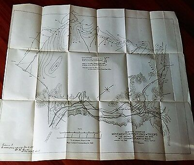 1898 Sketch Map, Movement of Troops, 16th Penn U.S.V. Coamo Puerto Rico, Biddle