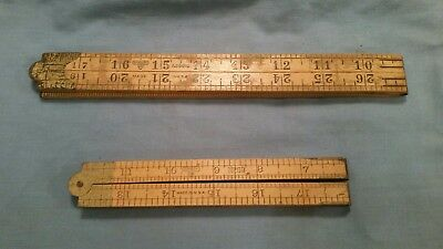 Vintage  Lot of 2 Stanley Boxwood & Brass Carpenters' Folding Rules