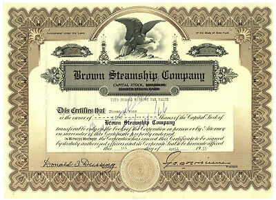 Brown Steamship Company. Stock Certificate. New York 1955