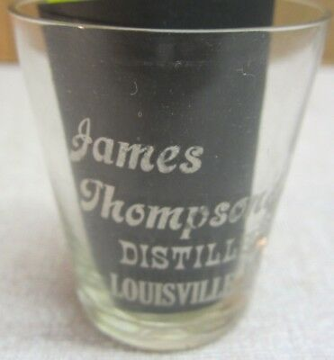 C 1900 Thompson & Bro etched saloon whiskey shot glass Louisville Ky