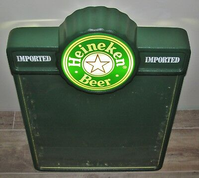 VINTAGE HEINEKEN BEER ADVERTISING LIGHT UP BAR MENU SIGN: made in New York 19x27