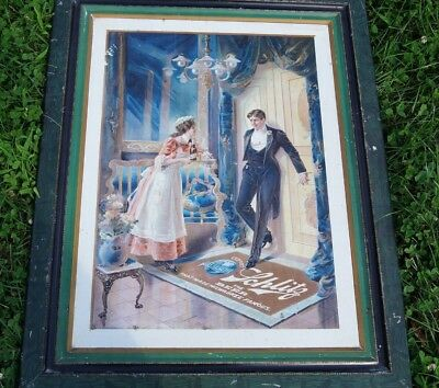 """Schlitz Beer Self Framed Tin Lithograph Pre Prohibition 1906 """"the Maid's Dilemma"""