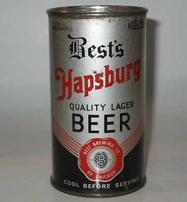 """Best's Hapsburg """"Patents Pending"""" OI flat top beer can, Chicago, IL, Lilek #104"""