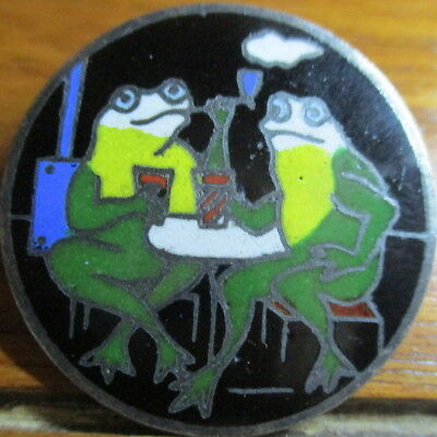 """Humorous! 1940s Vintage French ENAMEL Button """"FROGS SMOKING/DRINKING"""" Antique"""