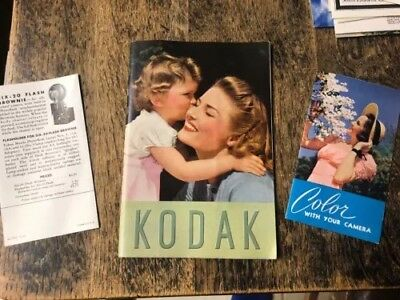 Rare Vintage Original Kodak 1940 Camera 38 Page Catalog  + Color Film Brochure