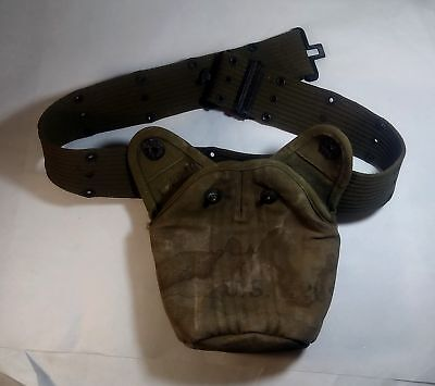 WWII US Army Military Canvas Belt & Canteen Holder.