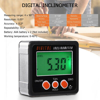 LCD Digital Inclinometer Electronic Protractor Bevel Box Angle Gauge Meter