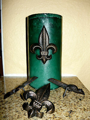 Set of 4 Cast Iron Fleur de Lis Candle Pin Old World Tuscan Medieval Decor Art