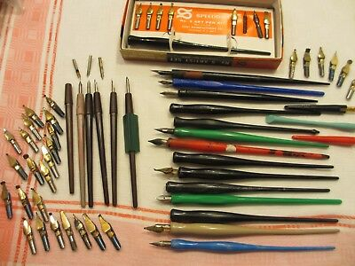 Vintage plastic Calligraphy, Dip Pens and Nibs Hunts Quill, Speedball