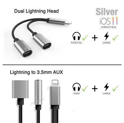 Dual Lightning Connector to 3.5mm Audio Headphone Jack Adapter for iPhone Xs Max