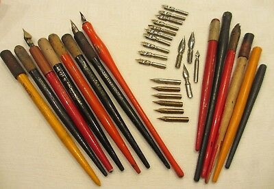 Vintage wooden Calligraphy & Dip Pens and Nibs