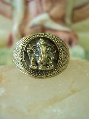 Ring Lord Ganesh Hindu God Elephant Vintage Jewelry Talisman Magic Thai Amulet