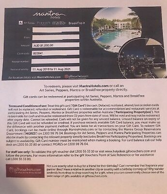 Mantra Breakfree Peppers Hotel Gift Voucher $1000