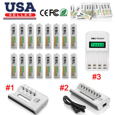 EBL 2800mAh AA Rechargeable Batteries Pack + Charger For AA AAA Ni-MH/Cd Battery