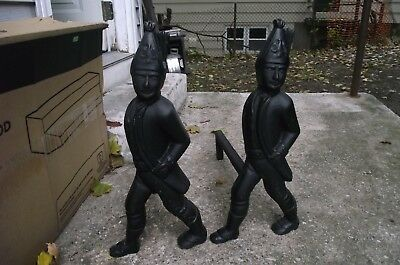 Antique Cast Iron Hessian Soldier Andirons