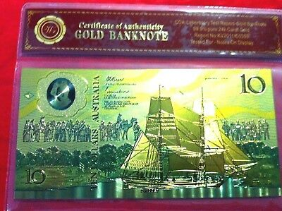 $10 Gold Banknote 24K Coloured Gold 1988 Australia Limited Note In Cert. Sleeve