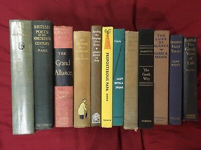 Lot of 12 Antiquarian Collectible Vintage Old Rare Books Hardcover HCDJ Edition