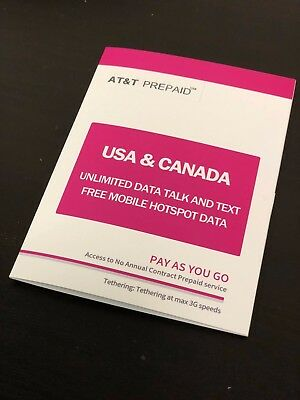 Prepaid USA & Canada (US AT&T)5 Days Unlimited Data Voice & Text SIM Card