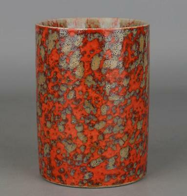 Chinese Collection Old Handmade Kiln Red Glaze Porcelain Brush Pot C01