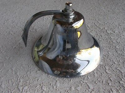 "Vintage Signed Perko 7 3/4"" Chrome Plated Fog Bell Ship Boat Nautical"