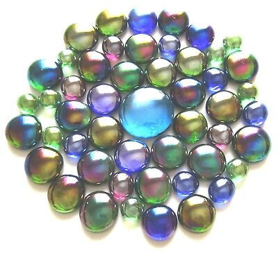 50 x Iridescent Shades of Peacock Feathers Mosaic Art Glass Pebbles Gem Stones