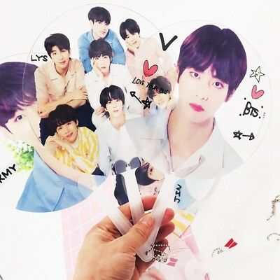 Kpop BTS  Mini Hand PVC Fan Bangtan Boys JIN JIMIN V JUNGKOOK Transparent New