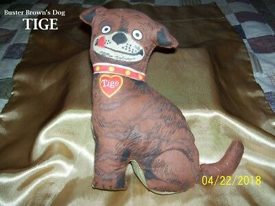 "Vintage Buster Brown's Dog ""tige"" Soft Stuffed Cotton Figure In Nice Condition"
