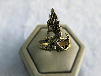 Ring Dragon bronze Men Size 11 Punk naga Jewelry Celtic Gothic amulet thai power