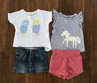 Girls Bulk Clothing Size 1 & 2 Cotton On Shorts Tshirt Denim Skirt Summer Outfit