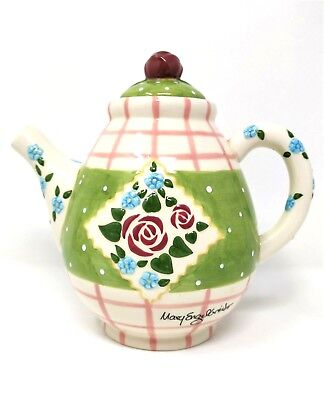 MARY ENGELBREIT Enesco Ceramic Floral Teapot - Pink Rose Collection (1998)
