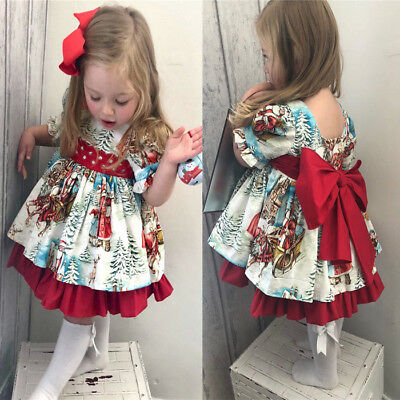 US Toddler Baby Girls Kids Winter Christmas Princess Dress Party Dresses Outfits