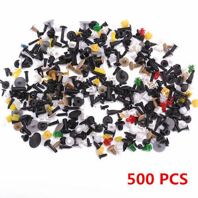 500Pcs Mixed Auto Car Fastener Clips Bumper Fender Trim Plastic Rivet Door Panel