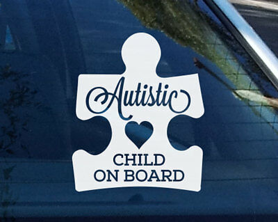 Autistic Child Children  on Board Puzzle Autism Awareness Sign Car Decal Sticker