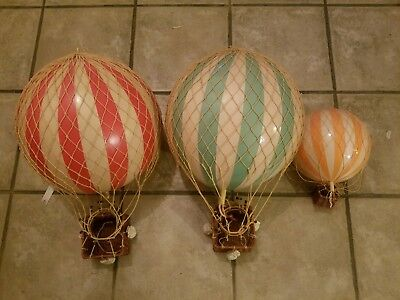 SET of 3 XL Hot Air Balloons Striped  Ceiling Hanging Aviation Home Decors