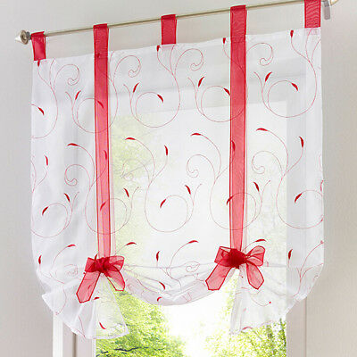 Floral Bow Tab Top Sheer Balcony Window Curtain Voile Liftable Roman Blinds N7