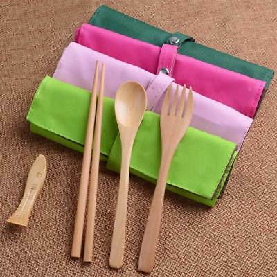 New Portable Wooden Spoon Fork Chopsticks Tableware Flatware Utensil W/Pouch #B1