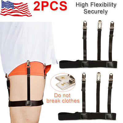 Male Men Hidden Shirt Stays Holder Garters Belt Non Slip Elastic Locking Clamps