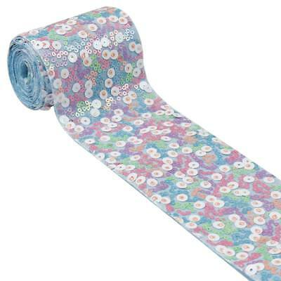 """2Yards/lot 3"""" 75mm Single Side Full Sequins Ribbon Tapes DIY Crafts Materials"""