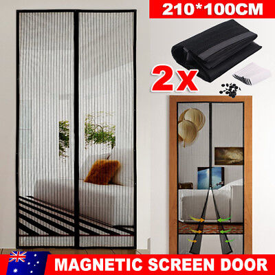 2x Magnetic Instant Mesh Door Hands Free Bug Mosquito Fly Pet Patio Screen Net