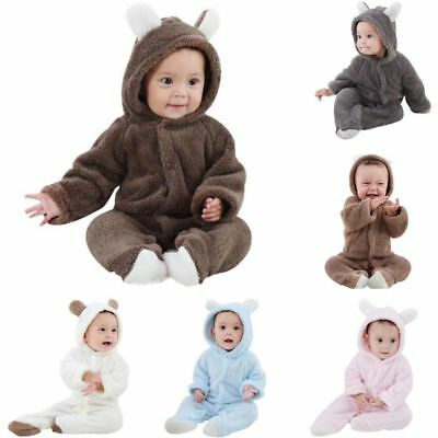 Newborn Baby Infant Boy Girl Romper Hooded Jumpsuit Bodysuit Outfits Clothes UK