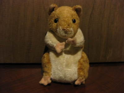 "TY Beanie Babies ""Pellet"" The Hamster Tan & Cream Animal Bean Plush Pal"